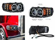 Pair Blackout Led Headlights W/ Led Halos And Turn Signals For Peterbilt 388/389