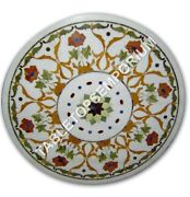 30 White Marble Coffee Center Table Top Marquetry Inlay Furniture Decor E1055