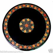 30x30 Marble Coffee Table Top Carnelian Marquetry Inlay Occasional Home Decor