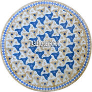 36and039and039 Marble Round Dining Table Top Mosaic Gems Inlay Semi Precious Home Decor