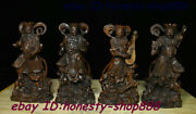 Collect Chinese Boxwood Wood Carving 4 Great Heavenly Kings Immortals Statue Set