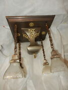 Mission Arts And Crafts Brass Pendant Light Fixture Chandelier W/ Etched Shades