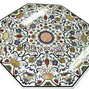 36 White Marble Dining Center Table Top Pietra Dura Gems Inlay Marquetry Decor