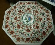 36x36 White Marble Dining Table Top Parrot Carnelian Malachite Home Decor Gift
