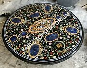 42 Black Marble Counter Tops Table Lapis Marquetry Inlay Home Decorative H5665