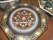 42x42 Black Marble Coffee Table Top Inlay Handmade Marquertry Home Decor Gift