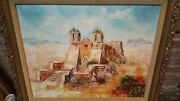 24 X 30 Aztec Mission Signed N Clare Original Oil Painting In Lovely Frame