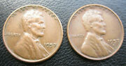 1957 D And P Error Us Wheat Penny With Cluster Die Break Filled Date