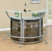 Modern Contemporary Game Room Curved Pub Bar Table Wine Storage Cabinet, Silver