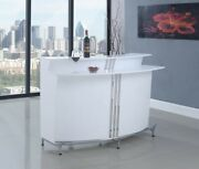 Modern Dining And Rec Room Curved Pub Bar Table Wine Cabinet White Lacquer Finish