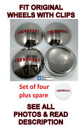 Set/5 Stainless Hubcaps W/ Red Lettering For 1947-53 Chevrolet 1/2t Pickup