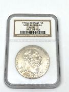 1903-a Germany 🇩🇪 German States 5 M Mark Saxe-altenburg Silver Coin Ngc Ms 63