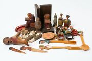 24-pc Lot Italian And German Black Forest Carved Wood Decorations And Utensils
