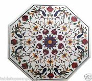2and039x2and039 Marble Coffee Table Top Semi Precious Gems Inlay Christmas Decorative Gift