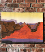 Original Signed Collagraph By Printmaker Clare Romano. Red Canyon. 13/150