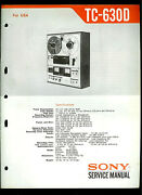Sony Tc-630d Reel To Reel Tape Deck Orig Factory Service Guide Manual