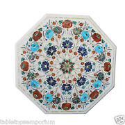 2and039x2and039 Marble Top Coffee Table Marquetry Multi Inlay Floral Art Decorative Gifts