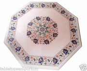 2and039x2and039 White Marble Coffee Table Top Lapis Floral Inlay Christmas Furniture Decor