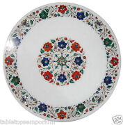 2and039x2and039 Marble Coffee Table Top Carnelian Lapis Floral Inlay Occasional Home Decor