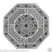 2and039x2and039 Marble Side Coffee Table Top Lattice Pauashell Inlay Mosaic Hallway Decor