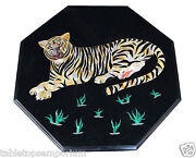 2and039x2and039 Marble Coffee Corner Table Top Inlay Tiger Marquetry Art Home Decor Gifts