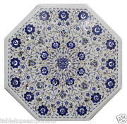 2and039x2and039 Marble Center Table Top Lapis Pietra Dure Inlay Furniture Christmas Decor