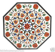 3and039x3and039 White Marble Top Dining Table Semi Precious Inlay Marquetry Hallway Decor