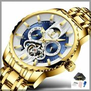 Automatic Mechanical Tourbillon Men Watch With Moon Phase And Luminous Hands Dial