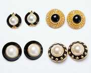 Lot Of 4 Pairs Vintage Costume Jewelry Earrings Gold Tone And Faux Pearl Clip-on