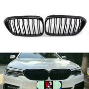 2x Gloss Black Double Slat Grille Fit For Bmw 5-series G30 2017 Best Match
