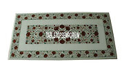 4and039x2and039 Marble Rectangle Dining Table Top Carnelian Gemstone Inlay Living Dandeacutecor