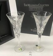 Waterford Crystal The Millennium Collection A Toast To The Year 2000 Flute Cups