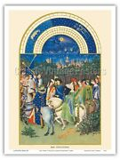 May Book Of Hours - Limbourg Brothers Vintage Illuminated Manuscript Print