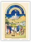 August Book Of Hours - Limbourg Brothers Vintage Illuminated Manuscript Print