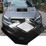 Fits 15-20 Benz W205 C Class V1 Style Transparent Vented Hood Iron And Glass