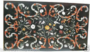 2'x3' Black Marble Side Coffee Table Top Multi Floral Marquetry Inlay Decor Gift
