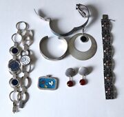 8pc. Lot Vintage Sterling Jewelry. Franze Scheurle Watches, American Indian ,