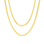 14k Yellow Gold Solid Men 3.5mm Round Franco Square Wheat Box Chain Necklace 30