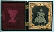 Smiling Girl, Antique Ambrotype Photo Gutta Percha Case Peasant And Scythe, Goat