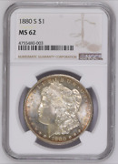 1880 S 1 Ngc Ms 62 Silver Dollar Morgan Color Coin