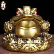 Chinese Pure Bronze Octahedral Fengshui Animal Bufonid Money Toad Wealth Statue