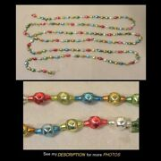 Antique Mercury Glass Faceted Bead Christmas Tree Garland 100in Red Green Blue