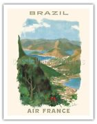 Brazil - France Georges Beuville 1958 Vintage Airline Travel Poster Art Print