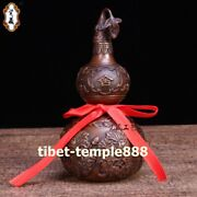 Chinese Red Copper Exorcise Evil Spirits Bottle Gourd Peony Flower Fengshui Pot