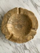 Vintage Mid Century Italian Alabaster Marble Natural Solid Stone Carved Ashtray
