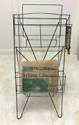 Vintage Newspaper Machine Stand Box Metal Wire Green Chicago Coin Double Rack