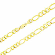 Solid 14k Yellow Gold 8.5mm Men Figaro Chain Link Necklace Lobster Clasp 20-30