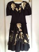 Rare Arnold Scaasi Designer Couture Black Gold Formal 80s Evening Gown Dress 8