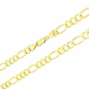 Real 14k Yellow Gold Solid 7mm Mens Italian Figaro Chain Link Necklace 20-30
