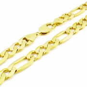 Solid 10k Yellow Gold Mens 12.5mm Figaro Chain Link Necklace Lobster Clasp 26